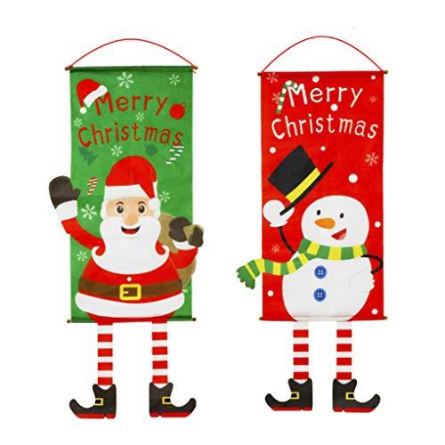 Idefair 2Pack Merry Christmas Fabric Flag,Xmas Door Porch Decor Supplies Hanging Ornament Santa Claus Banner Flag for Wall Door Window hanging