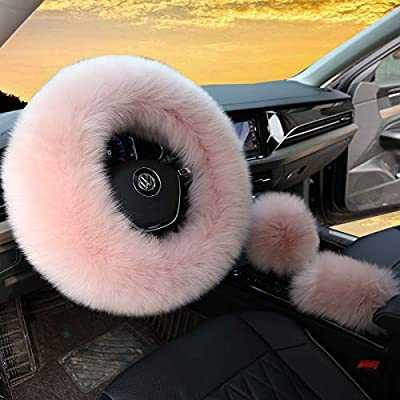 3Pcs Set Womens Winter Fashion Wool Fur Soft Furry Steering Wheel Covers Rose Pink Fluffy Handbrake Cover Gear Shift Cover Fuzz Warm Non-Slip Car Decoration Long Hair