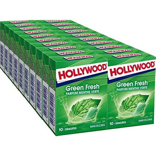 Hollywood Greenfresh - Chewing-gum sans sucres parfum Menthe Verte - Lot de 20 paquets