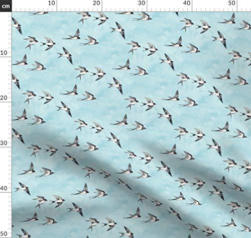 Schwalben, Vögel, Flug, Wasserfarben, Himmel Stoffe - Individuell Bedruckt von Spoonflower - Design von Micklyn Gedruckt auf Baumwoll Spandex Jersey