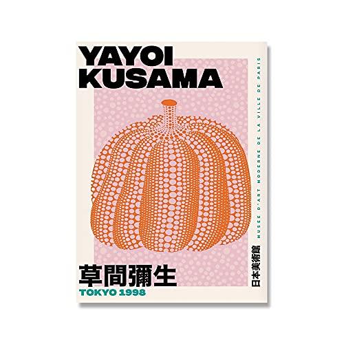 Póster de exposición de Yayoi Kusama de Tokio, impresión de arte de pared, impresiones naranjas abstractas modernas, pintura de lienzo sin marco familiar A3 15x20cm