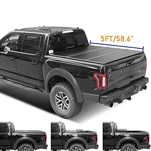 Lyon cover 5ft 58.6inch Hard Tri-Fold Truck Bed for 05-20 Frontier 09-12 Equator Tonneau Cover | LED Lamp | 3 Years Warranty |