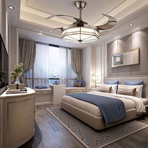 Moderno ventilador de techo de acrílico regulable con luz estilo Tiffany, lámpara de abanico invisible, velocidad del viento ajustable, plafón con iluminación del ventilador