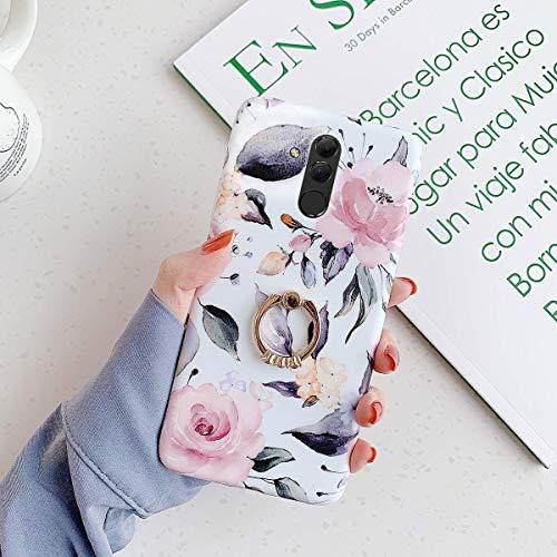 Uposao Kompatibel mit Huawei Mate 20 Lite Hülle mit 360 Grad Ring Ständer Blumen Blätter Muster Silikon Ultra Dünn TPU Bumper Case Kratzfest Durchsichtige Schutzhülle Case,Pink Blume