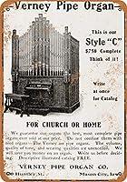 2個 20 * 30CMメタルサイン-1905教会または家庭用パイプオルガン メタルプレート レトロ アメリカン ブリキ 看板