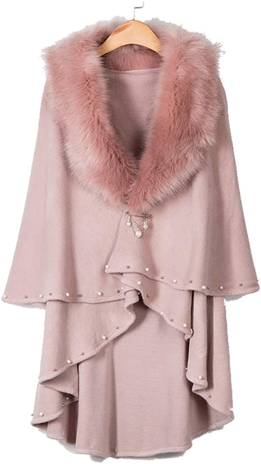 Womens Cape Poncho Coat Women Warm Long Shawl Cloak Cape Coat Buckle Closed Stole Cardigan Cloak Jacket for Winter Cocktail (color   Pink)