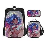 Combinación de mochila Rainbow brush afro black girl Backpack children's school bag, lunch bag with pencil case bag set, 3 in 1 school bag set