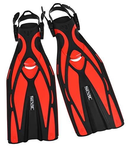 SEAC F1, Pinne da Subacquea Leggere 730 g per Alte Prestazioni in Immersione, Cinghiolo Regolabile Unisex Adulto, Rosso, L/XL