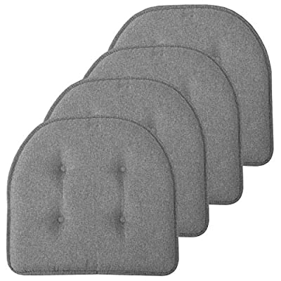 """Sweet Home Collection Chair Cushion Memory Foam Pads Tufted Slip Non Skid Rubber Back U-Shaped 17"""" x 16"""" Seat Cover, 4 Pack, Grey"""