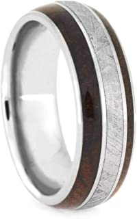wood and meteorite wedding band