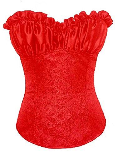 jutrisujo Donna Corsetto Bustino Overbust Sexy Burlesque Fiori Gothic Stringivita Top Halloween Taglie Forti Rosso XL