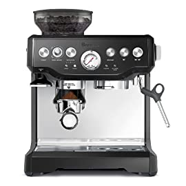Breville bes870bsxl the barista express coffee machine, black sesame, 2 17 15 bar italian pump purge function: automatically adjusts water temperature after steam for optimal espresso extraction temperature stainless steel conical burr grinder with 1/2 lb. Sealed bean hopper