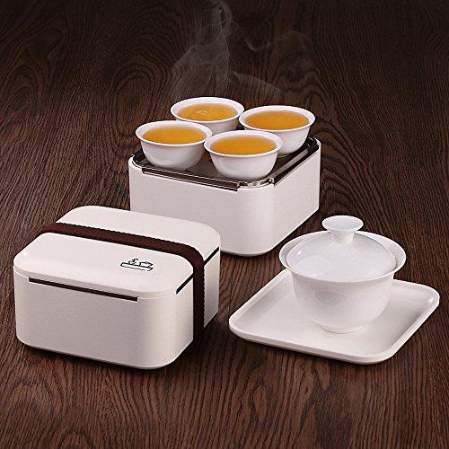 TAMUME Tragbare Kung Fu Porzellanteesatz Reise Tee-Set - 1 Porzellan Teekanne, 4 Tassen, weiß