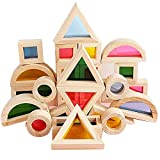 Wooden Building Blocks Set for Kids Geometry Sensory Rainbow Stacking Game Construction Toys Colorful Kaleidoscope Assembling Blocks Gift for Preschool Learning Educational Toys for Toddlers 24 pcs