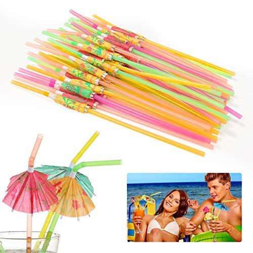 Ledeak 50 STÜCKE Regenschirm Trinkhalme, Kunststoff Bunt Cocktailschirmchen Strohhalmen für Hawaiian Beach Tropical Partydekorationen Supplies, Multifunktionales Praktisches