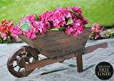Vaso da giardino in legno carriola Large Garden Ornament–Questo solido legno fiori aggiungerà fascino e carattere al tuo bel giardino. Facile da assemblare, ruota girevole & Burnt effetto legno Completamente assemebled carriola–32cm x 70cm x 32...