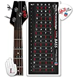 'Left-Handed' Bass Guitar Fretboard Note Map Decals/Stickers