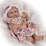 ZTLY Muñeca Negra de Silicona Completa, muñeca renacida, simulación, bebé, Puede Sentarse y acostarse, Amantes de la muñeca-17 Pulgadas