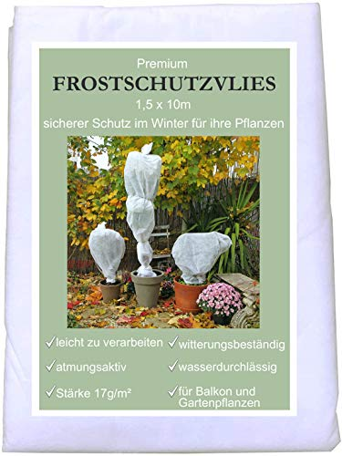 KRONLY Wintervlies 1,5 x 10m - Winterschutzvlies Frostschutz für Ihre Pflanzen Überwintern Thermovlies Pflanzenschutz gegen Kälte Winter