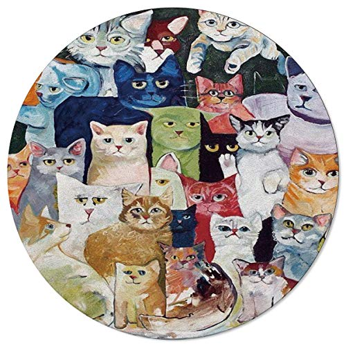 SunnyM - Alfombra Redonda con diseño de Gatos, para Interiores y Exteriores, para Sala de Estar, Dormitorio, Sala de Juegos o Cocina, Antideslizante, de Goma, Multiusos, Cat51113, 4\'x4\'