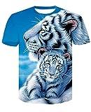 FANGDADAN 3D Printed Tshirt,Tigre Blanc La Mère Et l'enfant 3D Printed T-Shirt À Manches Courtes Occasionnel D'Été Tops Personnalisés Taille Plus Hip Hop Streetwear Tee Occasionnels Gift T Shirts,M
