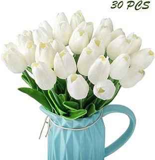 CEWOR 30 pcs Artificial Tulip Flowers Fake PU Flowers for Home Bridal Wedding Party Festival Bar Decoration(White)