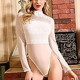 AYJMA Body Transparente de Malla de Encaje Lencería Sexy para Mujer de Manga Larga Skinny Ladies Push Up Body Suit Mujer Bodycon Bodys L Blanco