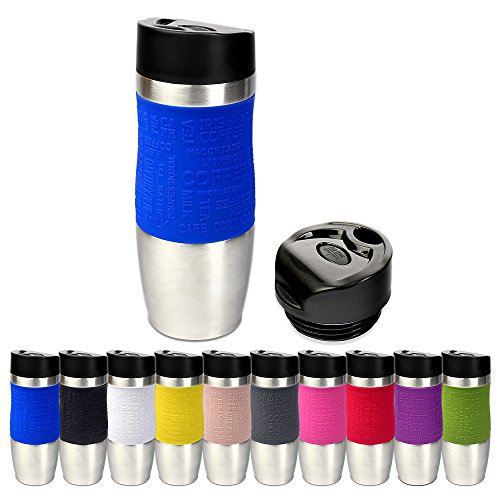 Schramm® Thermobecher in 10 Farben inkl. Ersatzdeckel Isolierbecher ca. 400ml Thermoisolierbecher Kaffeebecher Travel Mug Reisebecher BPA-frei Coffee to go Becher, Farbe:blau