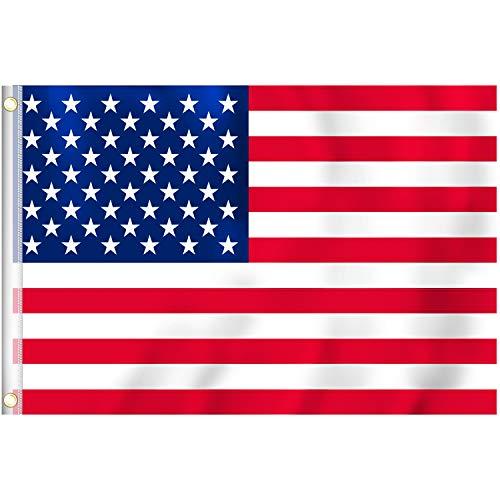 RYMALL 1 Stück 90 x 150 cm Amerika Flagge Poly Banner Flagge Bundes und Länderflagge aus wetterfestem Material mit Metallösen (USA 90 x 150 cm)