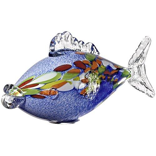 Cristalica Fisch Glasfisch Karpfen Gartenteich Deko Glas Mundgeblasen Blau 35 cm inkl. Stab