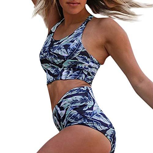 Bikini Mujer Push Up Riou Bikinis de Cintura Alta para Mujer Estampado Bohemio BañAdores con Relleno Traje de baño Ropa de Playa Retro Tallas Grandes