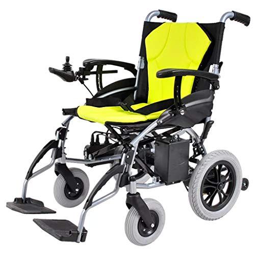 FYJK Elektrorollstuhl Offen/Schnellklappbar Leichtester, kompaktester Elektrorollstuhlantrieb mit Elektroantrieb oder manuellem Rollstuhl 20 Meilen Reichweite Gelb