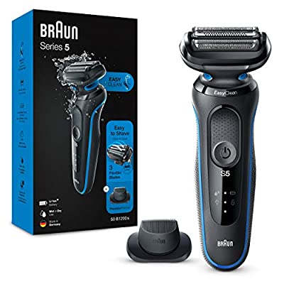 Braun Series 5 Electric Shaver for Men with Precision Beard Trimmer, Wet and Dry, Rechargeable, Cordless Foil Razor, Blue, 50-B1200s