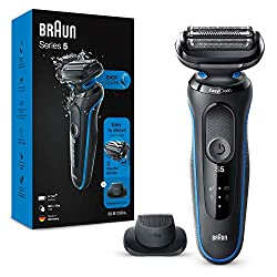 Electric shaver for men with three flexible blades that adapts to facial contours for a close shave made easy The EasyClean system delivers a fast and easy cleaning without removing the shaver head Included: Precision trimmer attachment for moustache...