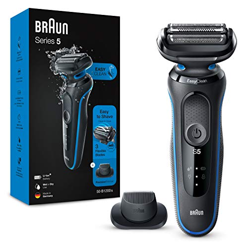 Braun Series 5 Electric Shaver for Men with Precision Beard Trimmer, Wet and Dry, Rechargeable, Cordless Foil Razor, Blue, 50-B1200s with 2 pin bathroom plug