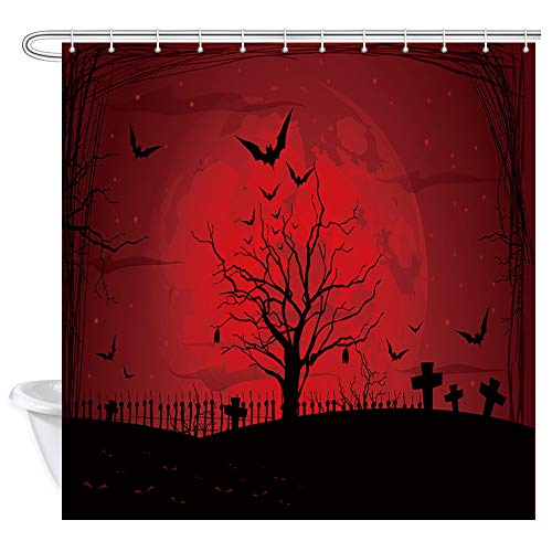 KOTOM Gothic Decor Shower Curtain, Scary Halloween with Moon and Pumpkins in Dark Red Night Abstract All Bat, Polyester Fabric Bath Curtains with Hooks 69W X 70L Inches