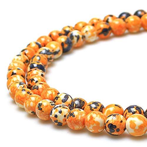 JARTC 5A Smooth Round Rain Flower Stones Beads DIY Bracelet Jewely Making 15'' (10mm, Orange Grey)
