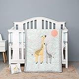 Mother and Child Giraffe Nursery Crib Bedding Set Grey 8 Pieces Baby Boy/Baby Girl Crib Bedding Set Baby Gift Idea Unisex