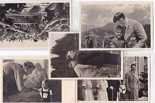 5 Postkarten: Adolf Hitler. 1. Besuch des Reichkanzlers in Neudeck. 2. Ein Kinderblick. 3. Der Führer wird von seinen Getreuen begrüßt. 4. Der Reichskanzler am Hintersee b. Berchtesgaden. 5. Der F ...