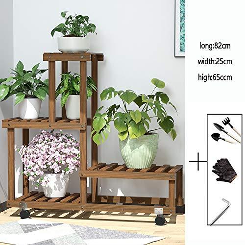 Shoe Covers Pflanzenregal Blumenregal Pflanzentreppe Mehrstöckig Holzblumentopf-Rack Blumenbank Mit Rädern Einfache Innen Wohnzimmer Montage