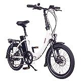 FOO F1 Bicicleta Eléctrica, Unisex Adulto, Blanco, 20 Pulgadas