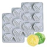 Binchil Ume - Juego de 3 moldes para jabón de nido de abeja (silicona, 6 huecos)