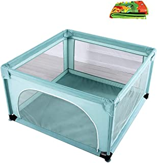 L TSA Baby Playpen with Pad  Safety Playard for Baby  Lightweight Mesh Fence with Sturdy Bases for Infants and Babies
