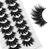 LANFLOWER Eyelashes 8 Pairs Fluffy Faux Mink Lashes 5D Handmade Fake Eyelashes Pack