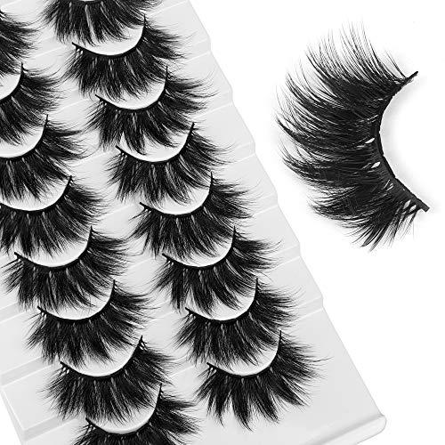 LANFLOWER 8 Pairs False Eyelashes Fluffy Faux Mink Lashes 5D Handmade Fake Eyelashes Pack