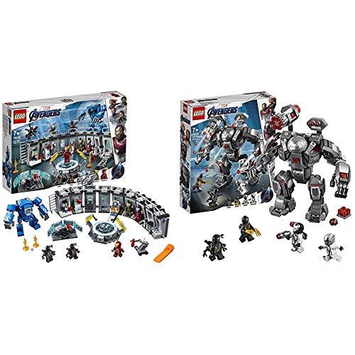 LEGO 76125 Marvel Super Heroes Iron Mans Werkstatt Kinderspielzeug Bunt & 76124 Marvel Super Heroes War Machine Buster