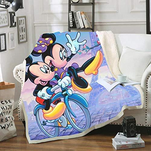 KHDFID Mickey & Minnie Mouse Manta polar para adultos y niños, manta cálida para ocio, sofá, silla suave, 3D, 130 x 150 cm