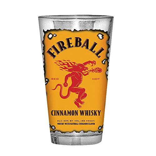 Fireball Whisky Burnt Label Trinkglas