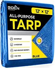 Blue Tarp Cover 5 Mil Thick Weave Material, Multi-Purpose Waterproof, Great for Tarpaulin Canopy Tent, Boat, RV or Pool Cover and More (12' x 12')