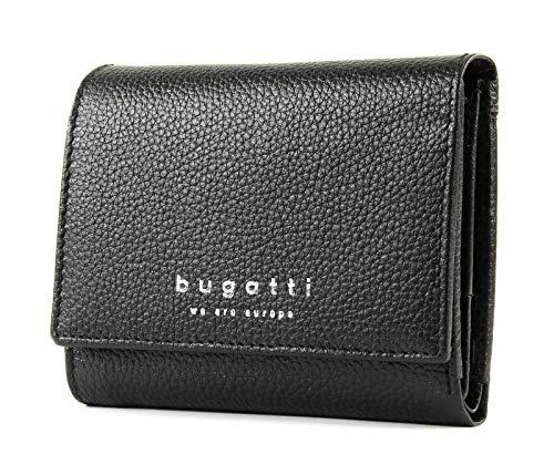 Bugatti Linda Portemonnaie Damen Klein, Kleine Geldbörse Überschlag Damen, Mini Geldbeutel, Schwarz